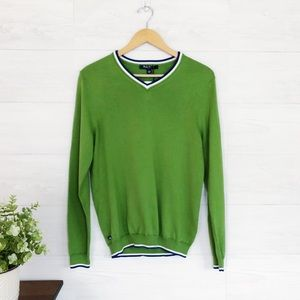 NWT Brooks Brothers Green Blue Tipped Sweater